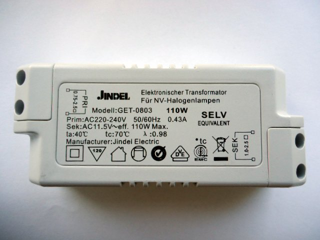 JINDEL GET-0803 110w ELECTRONIC TRANSFORMER (DISCONTINUED)