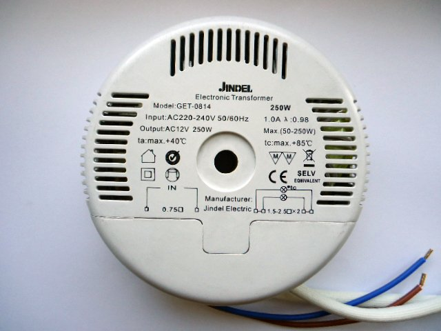 JINDEL GET-0814 250w ELECTRONIC TRANSFORMER (DISCONTINUED)