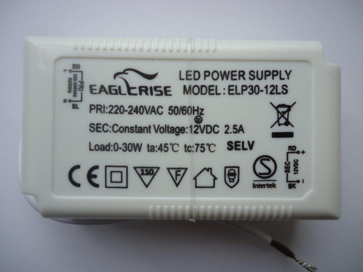 EAGLERISE ELP30-12LS LED DRIVER CONSTANT VOLTAGE (DISCONTINUED)