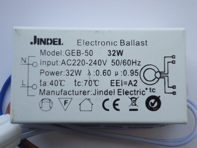JINDEL GEB-50 32W ELECTRONIC BALLAST