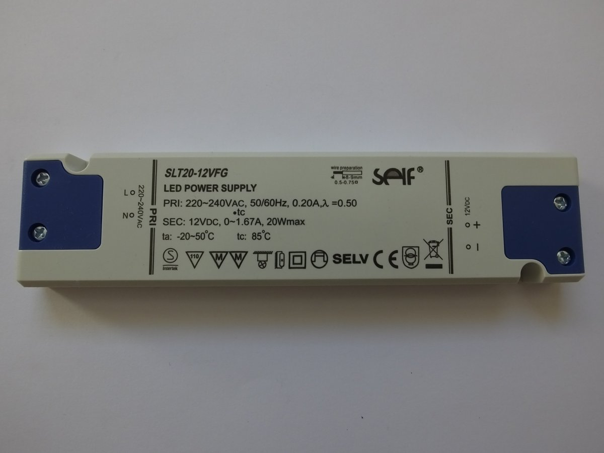 SELF SLT20-12VFG 12v 20w CONSTANT VOLTAGE LED DRIVER
