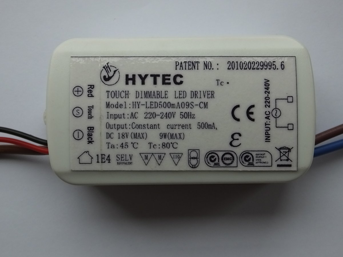 HYTEC HY-LED500MA09S-CM TOUCH DIMMABLE CONSTANT CURRENT LED DRIVER