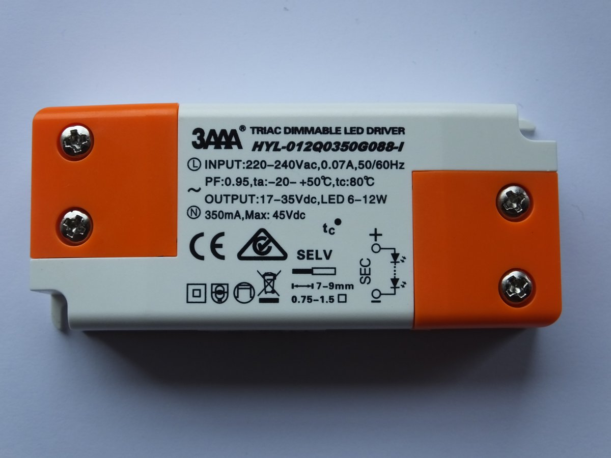 3AAA HYL-012Q0350G088-I 12w CONSTANT CURRENT TRIAC DIMMABLE LED DRIVER