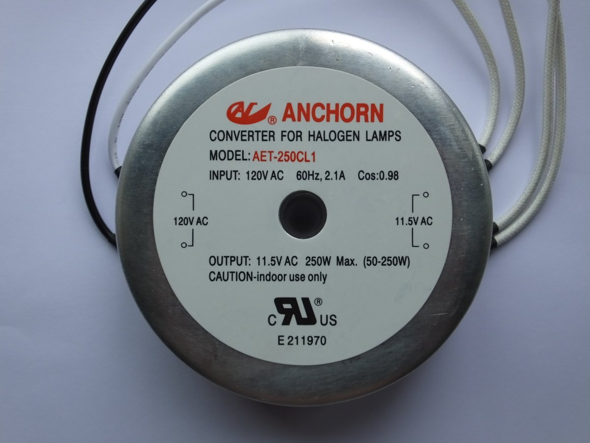 ANCHORN AET-250CL1 120v 250w ELECTRONIC TRANSFORMER