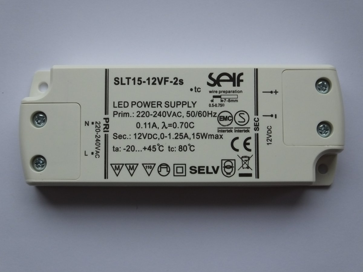 SELF SLT15-12VF-2S 12v 15w LED DRIVER CONSTANT VOLTAGE