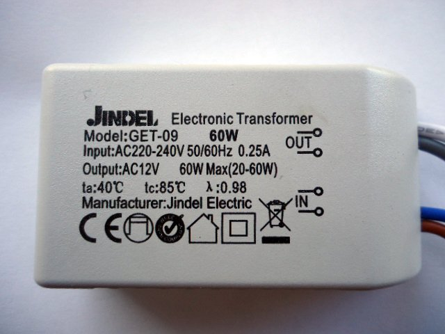 JINDEL GET-09 60w ELECTRONIC TRANSFORMER (DISCONTINUED)